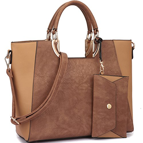 Leather Large Tan (Extra Large Satchel Handbags Leather Tote Designer Purse Removable Shoulder Strap (With Coin Purse-Brown/Tan))