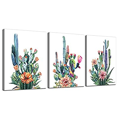 "Wall Art for living room Canvas Prints Artwork bathroom Wall Decor Simple Life Green plants cactus Picture Watercolor painting 3 Pieces Framed bedroom wall decorations Office Works Home Decoration - PERFECT CANVAS ART: good idea for home interior walls decor such as living room, bedroom, kitchen, bathroom, guest room, office and others. SIZE: each canvas panel is 12""x16"" (30cmx40cm), total 3 Panels. EASY TO HANG: each panel of canvas prints already stretched on solid wooden frames, gallery wrapped, with hooks and accessories, ready to hang. - wall-art, living-room-decor, living-room - 51cyRHHZ5GL. SS400  -"