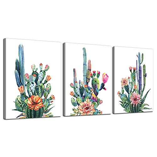 Wall Art for living room Canvas Prints Artwork bathroom Wall Decor Simple Life Green plants cactus Picture Watercolor painting 3 Pieces Framed bedroom wall decorations Office Works Home Decoration (Decor Bathroom Simple)