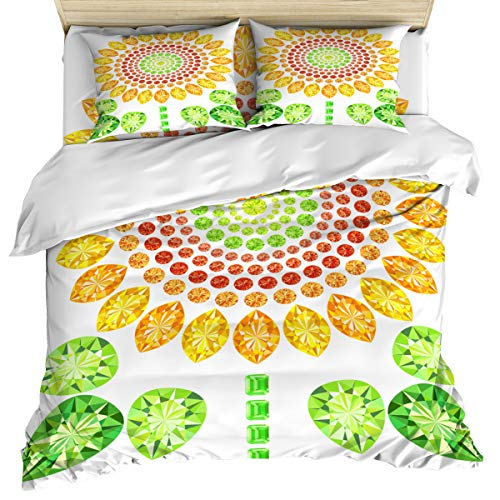 OUR DREAMS Queen Size 4 Piece Bedding Set Comforter Cover Set, Sunflower Clip Art Design Duvet Cover Set Soft and Breathable with Zipper Closure for Kids/Teens/Adults