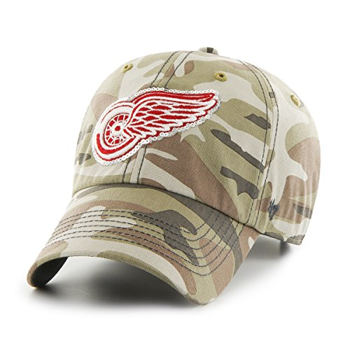 ('47 NHL Detroit Red Wings Women's Sparkle Camo Clean Up Hat, Women's, Faded)