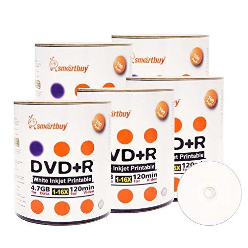 Smart Buy 500 Pack DVD+R 4.7gb 16x White Printable Inkjet Blank Media Record Disc, 500 Disc 500pk by Smart Buy