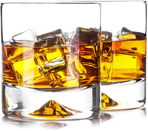ses - Lead Free Hand Blown Crystal - Thick Weighted Bottom (12oz Set of 2) - Seamless Design - Perfect for Scotch, Bourbon and Old Fashioned Cocktails ()