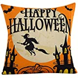 Napoo Happy Halloween Pillow Cases, 2018 Bat Pumpkin Square Throw Flax Pillow Case Cushion Cover Burlap Home Sofa Decor (D)