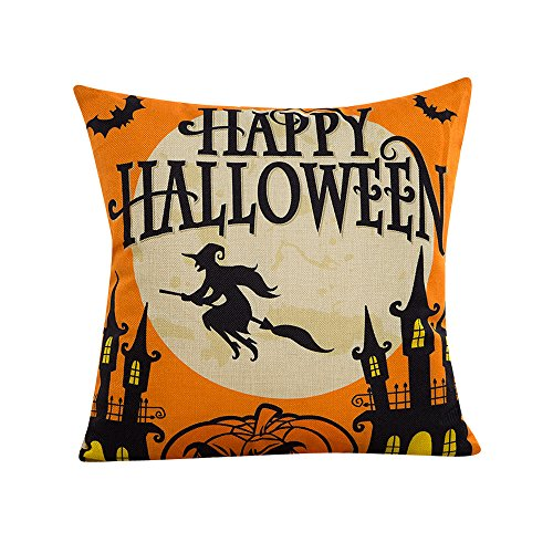 Napoo Happy Halloween Pillow Cases, 2018 Bat Pumpkin Square Throw Flax Pillow Case Cushion Cover Burlap Home Sofa Decor (D) -