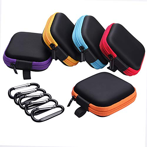 - Sunmns 5 Pieces in Ear Bud Earphone Headset Headphone Case Mini Storage Carrying Pouch Bag with Carabiners