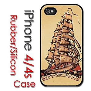 iPhone 4 4S Rubber Silicone Case - Pirate Ship Sailor Tattoo Style