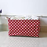 Cotton Linen Waterproof PE Coating Sundries Toy Basket Storage Folding Box dirty clothes basket Animal Sheets Laundry Clothes Household Large Hamper with Two Handles Bag Basket (Red)