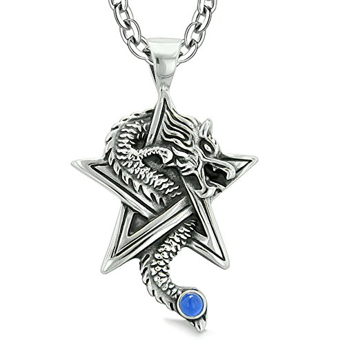 Courage Dragon Magical Powers Star Pentacle Amulet Aqua Blue Simulated Cats Eye Pendant 18 Inch Necklace