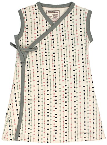 Organic Kimono Dress - Maple Clothing Organic Cotton Baby Girl Kimono Dress GOTS Certified (Stripes-Dots, 6-12m)