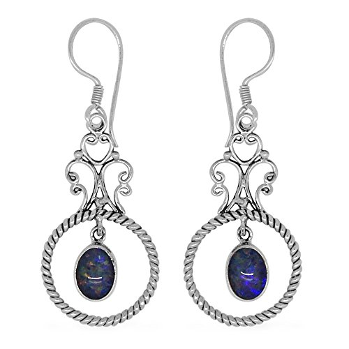 Opal Sterling Silver Earrings (Boulder Opal Earrings)