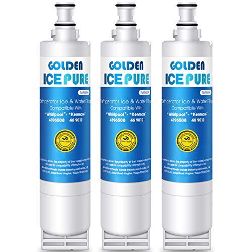 GOLDEN ICEPURE Refrigerator Water Filter, Compatible with 4396508,4396510,Kenmore 46-9010,NLC240V(NOT-4396841) (3-Pack) (Kitchenaid Superba Refrigerator Ice Dispenser Not Working)