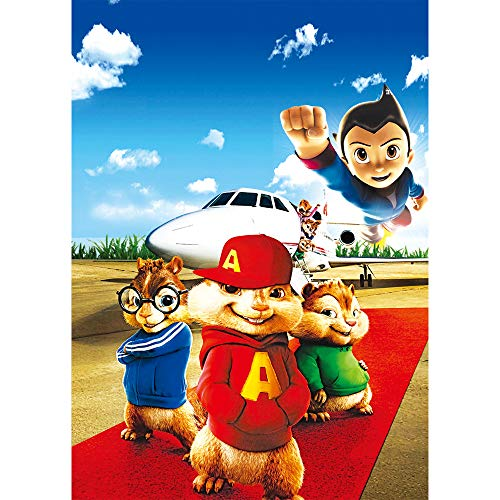 Background 5x7ft Blue Sky White Airplane Red Carpet Vinyl Backdrop for Birthday Alvin and The Chipmunks Themed Happy Birthday Photo Backgrounds Table Top Customized]()
