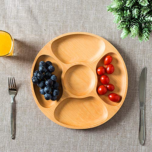 Best Wood Divided Serving Tray 11 inch Round Dessert Dish Sandwich Appetizer Salad Plates Vegetable Cheese Platter by Ren Handcraft (Image #4)