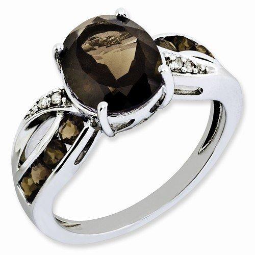 Sterling Silver Smokey Quartz Ring (Solid 925 Sterling Silver Diamond & Brown Simulated Smokey Quartz Engagement Ring (.02 cttw.) (2mm))