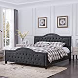 Mason Fully-Upholstered Traditional Queen-Sized Bed Frame, Dark Gray