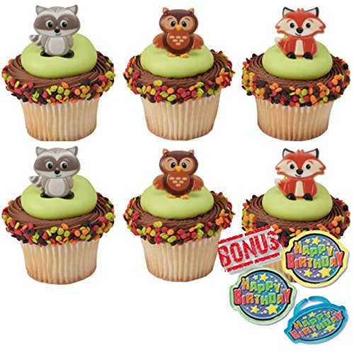 Woodland Animals Creatures Cupcake Toppers and Bonus Birthday Ring - 25 piece]()