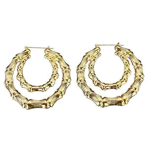 (Yanvan Women's Hip-Hop Earrings, Large Bamboo Earrings Hip-Hop Gold Silver Ladies Hoop Hoops Bling Circle 9cm)