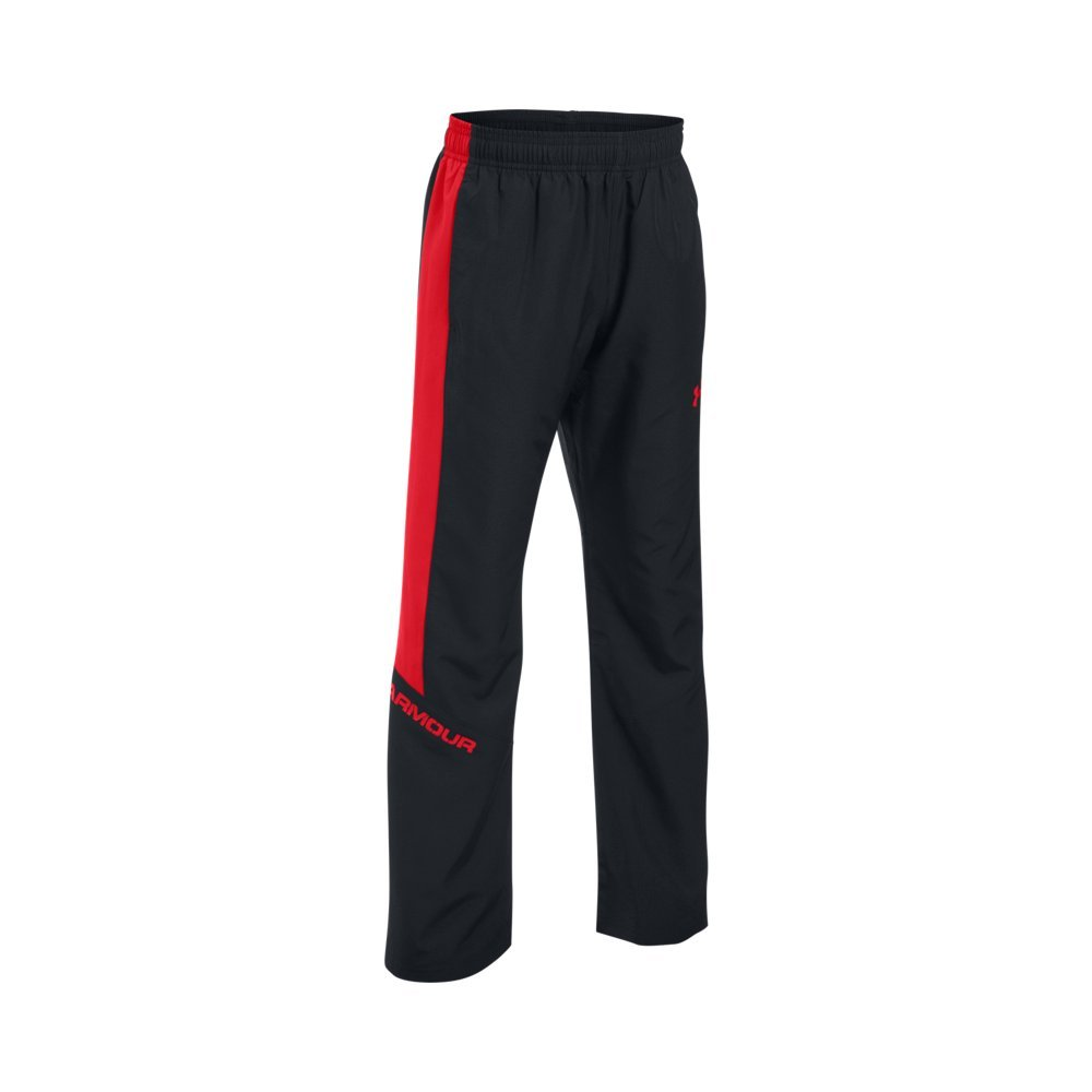 Under Armour Boys' Main Enforcer Woven Pants, Black/Red, Youth X-Small by Under Armour