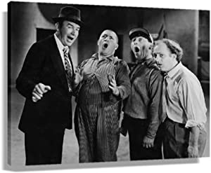 The Three Stooges Retro Movie Poster Decorations for Bedroom Vintage Prints Picture Gifts Kitchen Artwork Canvas for Home Walls Printing Pictures Paintings for Bathroom Giclee Poster Canvas for Office (24x16inch,Unframed)