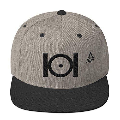 Masonic Snapback Hat 3D Puff Embroidery Black Thread ()