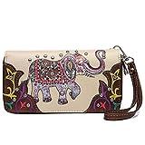 Elephant Floral Spring Rhinestone Studded Western Style Country Purse Wrist Strap Women Wristlets Wallet (Beige)