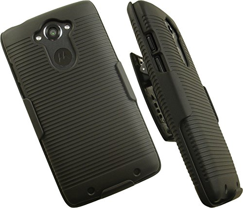 NAKEDCELLPHONE'S Black Rubberized Hard CASE Cover + Belt Clip Holster Stand for VERIZON Motorola Droid Turbo Phone (Fits All Versions XT1254, Ballistic Nylon and/or Standard MGF)