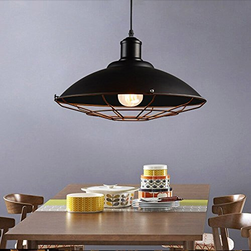 JINGUO Lighting Metal Adjustable Pendant Lights Hanging Lights Ceiling Lamp Chandelier with Cage Dome Shade in Industrial Style for Indoor Restaurant Barn Warehouse Black (Kalco Copper Table Lamp)