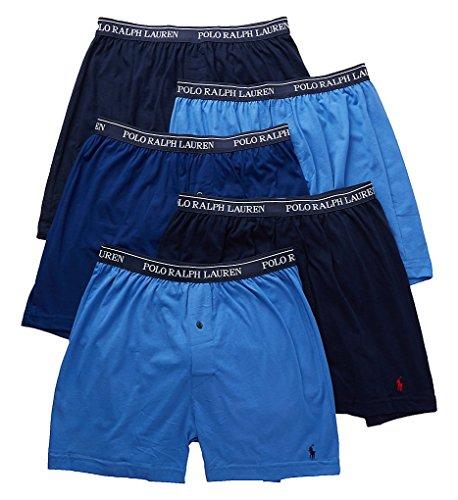Polo Ralph Lauren Classic Fit 100% Cotton Knit Boxers - 5 Pack (LCKBP5) L/Blue/Royal/Navy