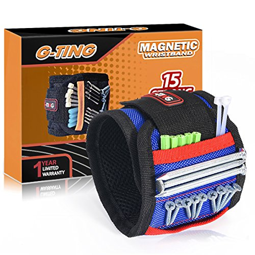 Magnetic Wristband, G-TING Adjustable Super Magnetic Wrist Band With 15 Strong Magnets for Holding Screws,Nails,Drill Bits Holding Tools,Bolts and Other Metal Tools. Unique Tool Gift for DIY (Blue)