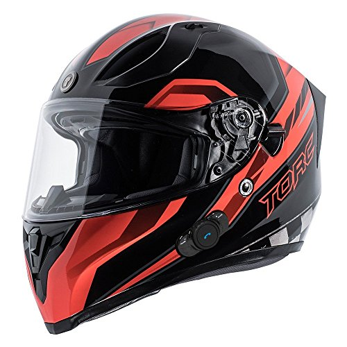 TORC Unisex-Adult's Full-Face Style T15B Bluetooth Integrated Motorcycle Helmet with Graphic (Gloss Black Edge Red, (Edge Motorcycle Helmet)