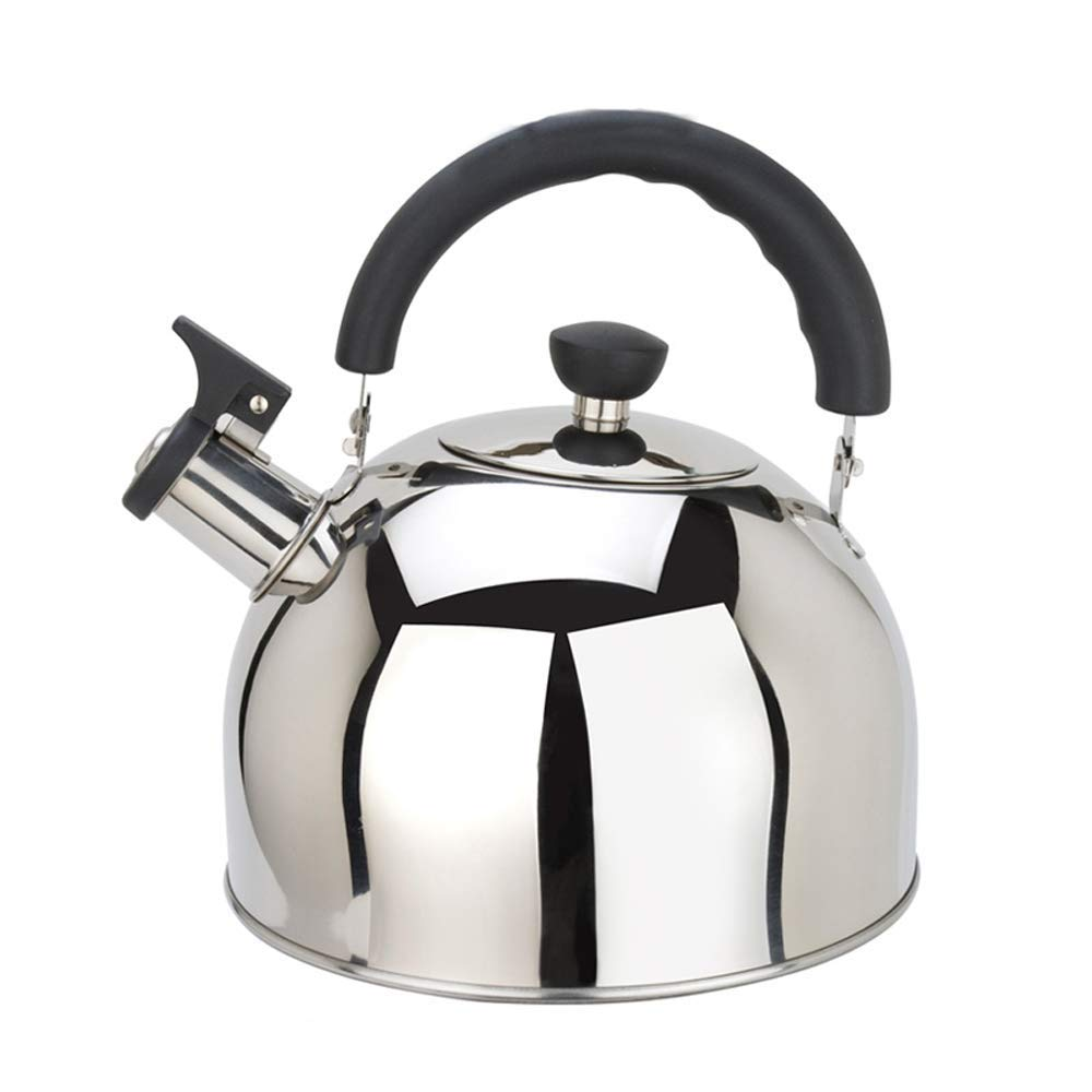 Whistling Tea Kettle, Stainless Steel Teapot - Anti-scalding Handle, 6 Liter,Silver