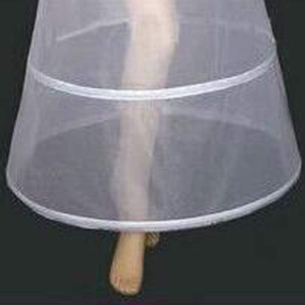 Sottoveste Nuziale Impero Elastico in Vita Monopezzo Abito da Sposa Crinoline Sottogonna 2 Cerchi A-Line Slip alla Caviglia