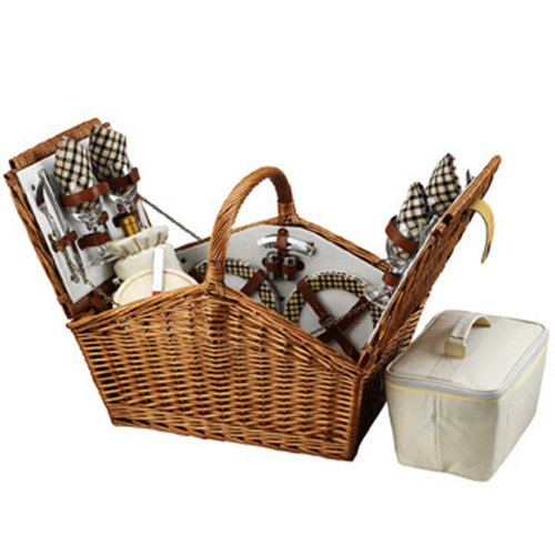 Picnic at Ascot Huntsman English-Style Willow Picnic Basket with Service for 4 - London Plaid by Picnic at Ascot