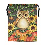 Custom Drawstring Bag,Welcome-Autumn-Owl-Pumpkins Holiday/Party/Christmas Tote Bag 15.7(H)x 11.8(W) in