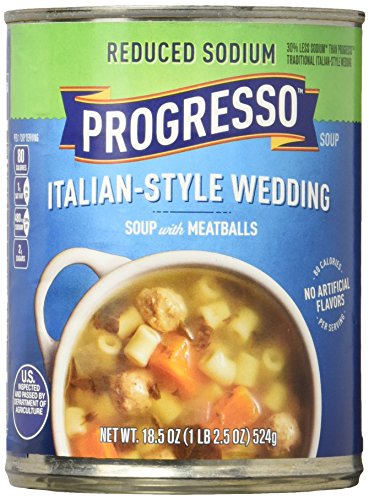 - Progresso Soup, Reduced Sodium, Italian Style Wedding with Meatballs Soup, 18.5 oz Cans (Pack of 12)