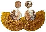 Yacht & Smith Double Stud Brushed Metal Fringe Statement Earrings with Fan Tassels