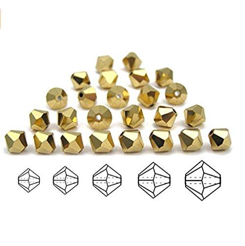 100pcs Genuine Preciosa Bicone Crystal Beads 3mm Gold Aurum Full Alternatives For Swarovski #5301/5328 (Swarovski Crystal Tube Bracelet)