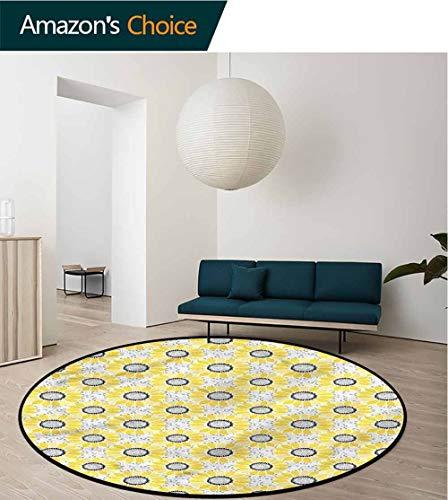 Sunflower Round Rug,Stripe Petal Summer Bloom Study Super Soft Carpet Diameter-59