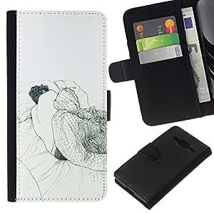 KLONGSHOP // Tirón de la caja Cartera de cuero con ranuras para tarjetas - Dormir Dream Art Dibujo Lápiz Hombre Cama - Samsung Galaxy Core Prime //