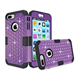 iPhone 7 Plus Case, iPhone 7 Plus Case, NOKEA Hybrid Heavy Duty Shockproof Full-Body Protective Case Ultra Slim Bumper Cover 3 in 1 Shield Soft TPU Hard PC Dual Layer Impact Protection (Purper Black)