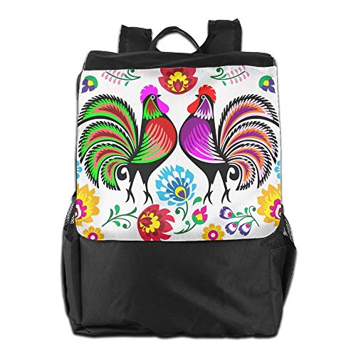 Outdoor Backpacks Boho Colorful Country Chic Rooster Flower Backpack Polyester Multifunction Adult