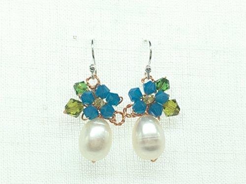 [Seven One-Blue Dangle earrings-Fashion jewelry-Drop Earrings-Floral-chic earrings-women gifts-women] (Blue Ghost Pill Costume)