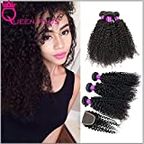 Queen Plus Hair 7a 100% Human Hair Extensions Peruvian Curly Virgin Hair Weave Natural Color Curly Kinky Weave 4 Bundles Curl Weave Mix Length Hair Bundles with Top Lace Closure (14 16 18 20 with 12)