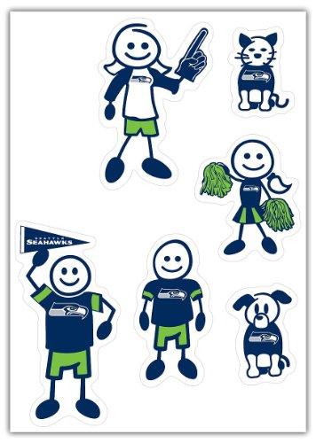 Siskiyou NFL Seattle Seahawks Small Family Decal (Seattle Seahawks Vinyl)