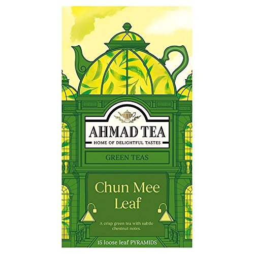 Ahmad Tea Loose Leaf Pyramid Teabags, Chun Mee Leaf Green, 15 Count