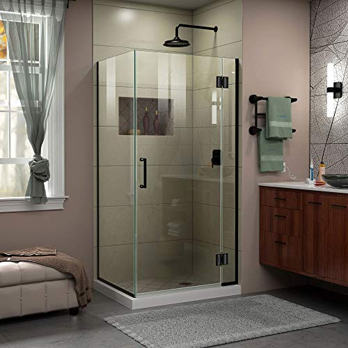 DreamLine Unidoor-X 29 3/8 in. W x 34 in. D x 72 in. H Frameless Hinged Shower Enclosure in Satin Black - E12334-09