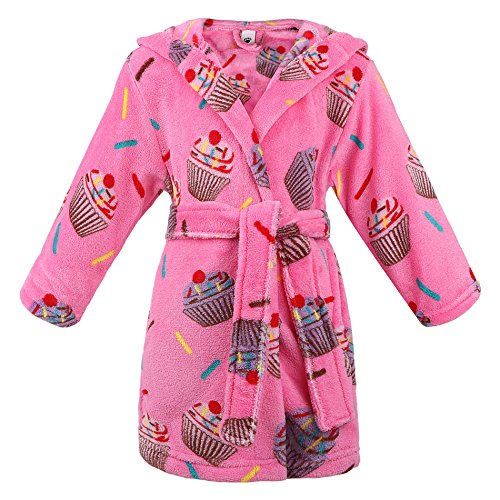 ARCTIC Paw Baby Robe Kids' Flannel Fleece Hooded Bathrobes Sleepwear,Cupcakes,S