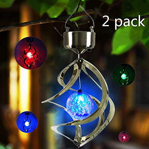 - 2 Pack Hanging Solar Lights Outdoor Solar Wind Chimes LED Colour Changing Hanging Lights Spiral Spinner Lamp for Design Decoration for Garden, Patio, Balcony Outdoor & Indoor