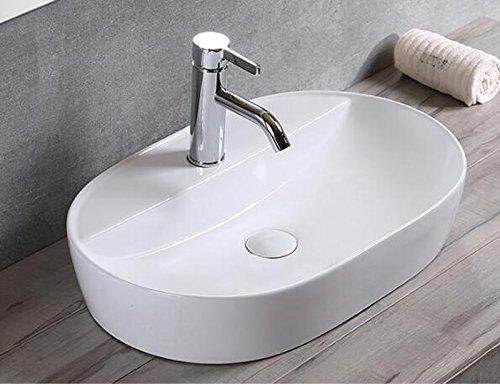 Lavabo da appoggio in ceramica, piccolo, ovale, colore bianco, 50x38x12 Markenlos